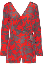 Wrap-effect printed silk crepe de chine playsuit