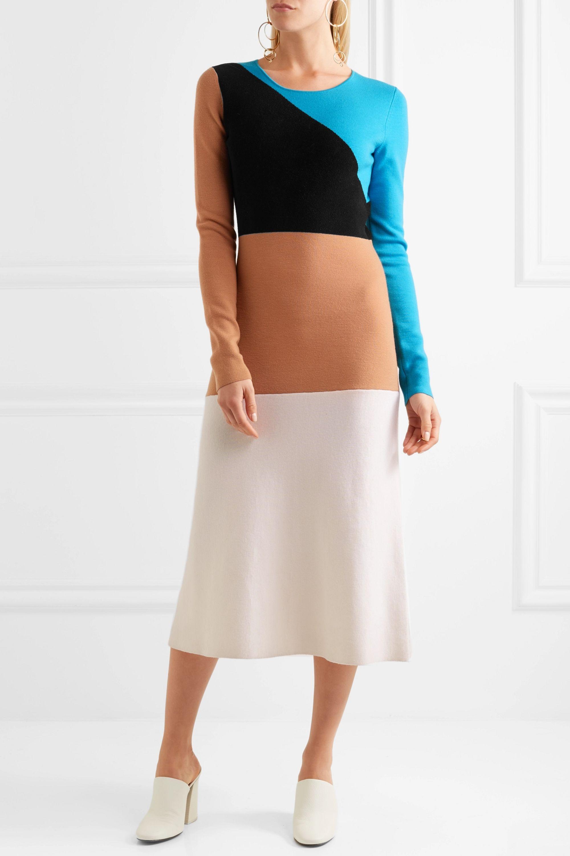 Diane von Furstenberg Color-block wool midi dress