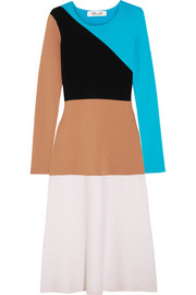 Color-block wool midi dress