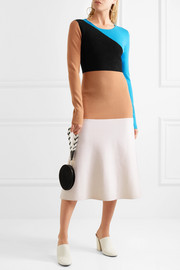 Diane von Furstenberg Color-block wool midi dress