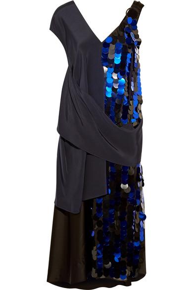 Embellished Crepe And Silk-satin Midi Dress - Blue Diane Von F UDTKx