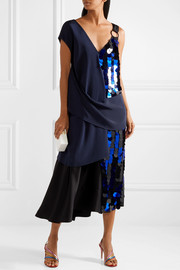 Diane von Furstenberg Embellished crepe and silk-satin midi dress