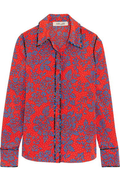 Diane von Furstenberg - Printed Silk Crepe De Chine Shirt - Pink