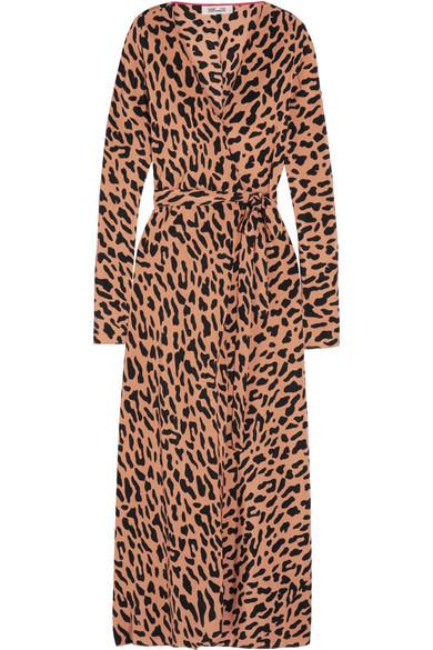 Diane Von Furstenberg Leopard Print Silk Crepe De Chine Wrap Dress