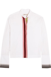 Essentials grosgrain-trimmed cotton-poplin shirt