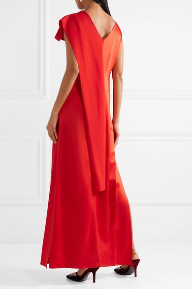 Draped Satin And Grosgrain Gown - Tomato red Diane Von Fürstenberg Cheap Price From China yaOGuxsh