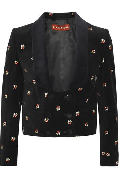 Floral-embroidered cropped cotton-velvet jacket