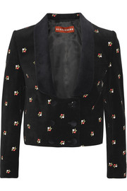 Embroidered cotton-velvet tuxedo jacket