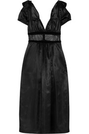 Mesh and velvet-trimmed satin midi dress