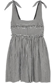 Ballerina gingham crepe mini dress