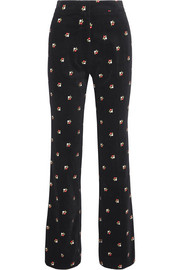 Embroidered cotton-velvet straight-leg pants