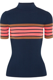 Striped ribbed-knit top