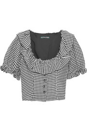 ALEXACHUNG Cropped ruffled gingham crepe top