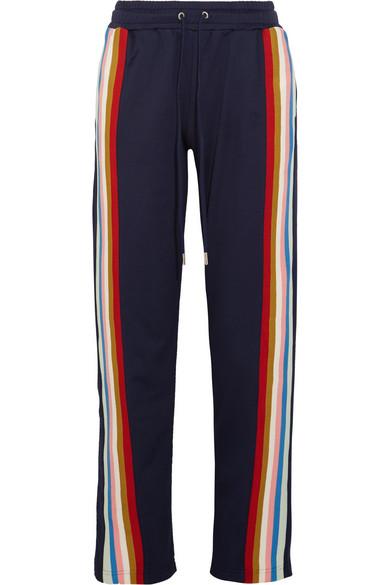ALEXACHUNG - Striped Jersey Track Pants - Navy