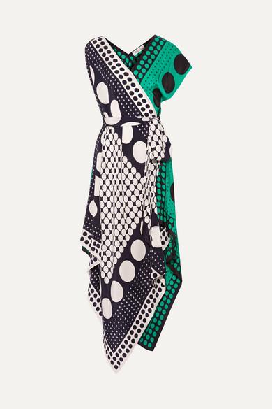 Diane von Furstenberg Banbe asymmetrisches Midikleid aus Seide mit Polka-Dots