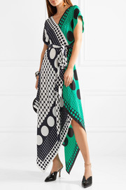 Diane von Furstenberg Banbe asymmetric polka-dot silk midi dress