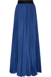 Pleated silk-satin maxi skirt