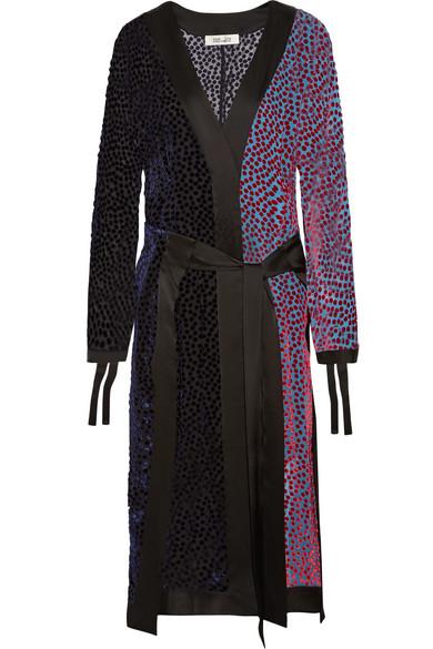 Diane von Furstenberg Midikleid aus beflocktem Chiffon mit Besätzen aus Satin