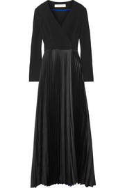 Wrap-effect crepe de chine and plissé-satin gown