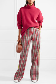 Diane von Furstenberg Grosgrain-trimmed checked canvas wide-leg pants