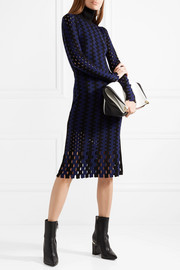 Diane von Furstenberg Cutout two-tone wool turtleneck midi dress