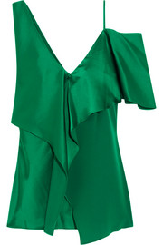 Asymmetric ruffled satin top