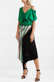 Diane von Furstenberg Asymmetric ruffled satin top