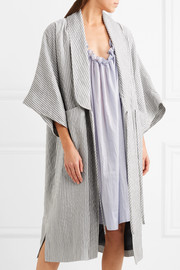 Constance striped cotton-blend robe