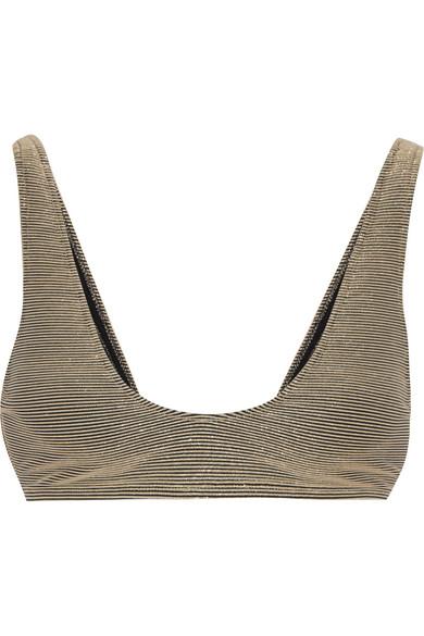 The Laeti metallic ribbed bikini top