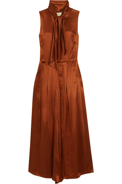 Merchant Archive - Pussy-bow Silk-satin Jumpsuit - Chocolate