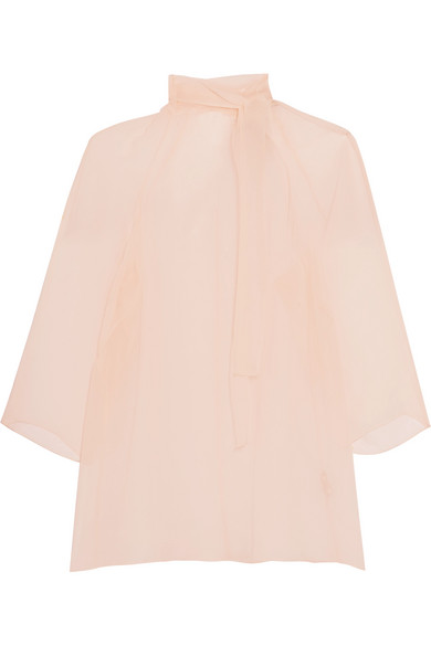 Merchant Archive - Sheer Pussy-bow Silk-gauze Blouse - Pastel pink