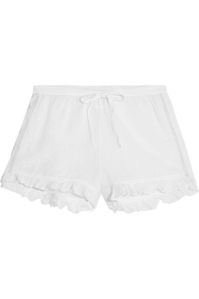 Olbia ruffled embroidered cotton-voile shorts
