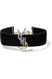Saint Laurent Velvet, gold and silver-tone and crystal choker