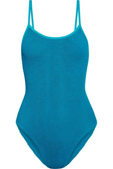 HUNZA G - Seersucker Swimsuit - Turquoise