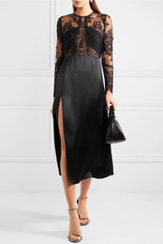 Lace and satin midi dress