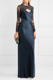 Convertible cutout silk-satin and lace gown