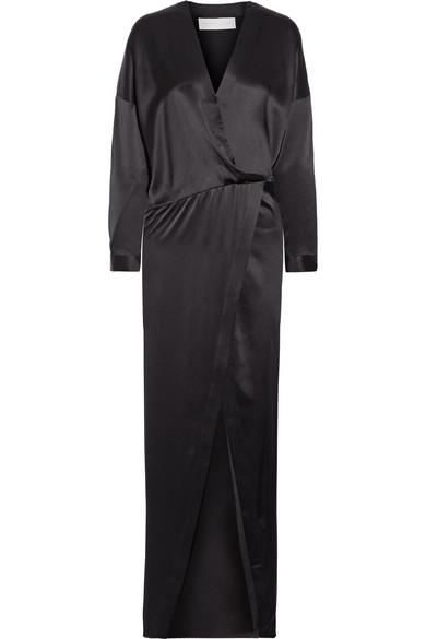 Michelle Mason - Draped Wrap-effect Silk-satin Maxi Dress - Black