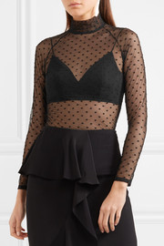 Polka dot-embroidered stretch-tulle bodysuit