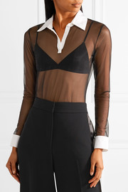 Cotton poplin-trimmed stretch-tulle bodysuit