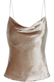Draped silk-trimmed velvet camisole