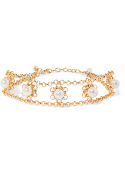 Perla gold-plated faux pearl choker