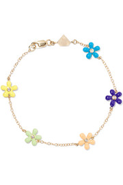 Alison Lou Wild Flower 14-karat gold, enamel and diamond bracelet