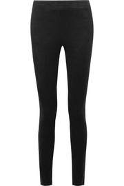 Faux stretch-suede leggings