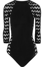 Mesh-paneled stretch bodysuit