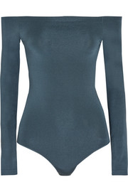 Wolford Sheen Light off-the-shoulder stretch-knit bodysuit