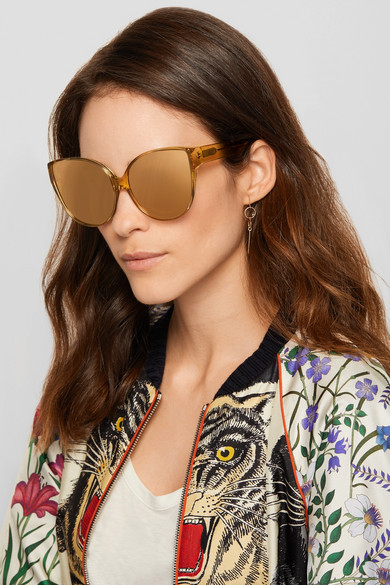 203bffa4041b Linda Farrow. Oversized cat-eye acetate and gold mirrored sunglasses