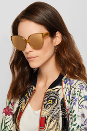 Oversized cat-eye acetate mirrored sunglasses