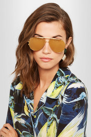 Convertible aviator-style gold-plated mirrored sunglasses