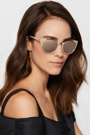 Cat-eye acetate and rose gold-plated mirrored sunglasses