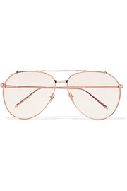 Aviator-style rose gold-plated sunglasses